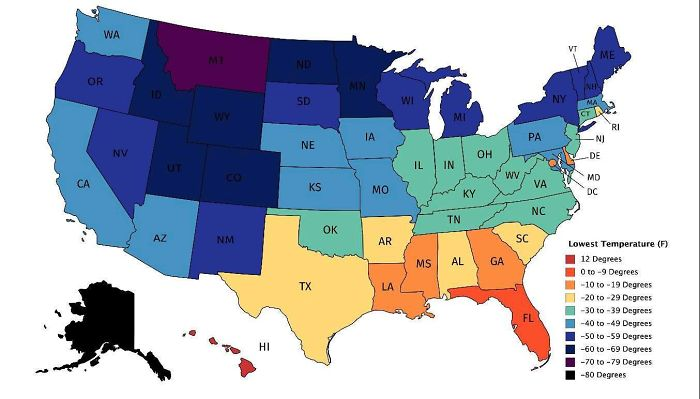 Map Of Lowest Recorded Temperature In Each Us State (Fahrenheit)