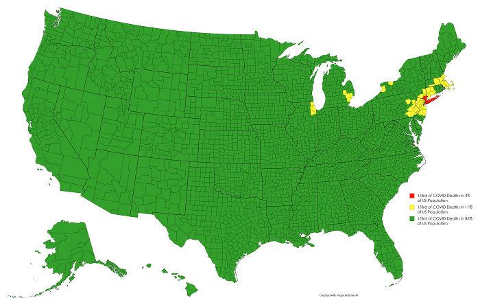 Cada color es 1/3 de las muertes por Covid en EEUU