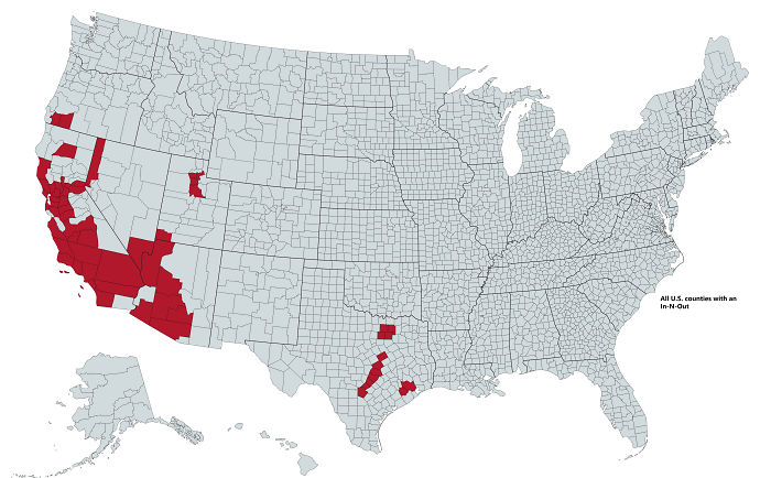 All U.S. Counties With In-N-Out Burger As Of May 2020