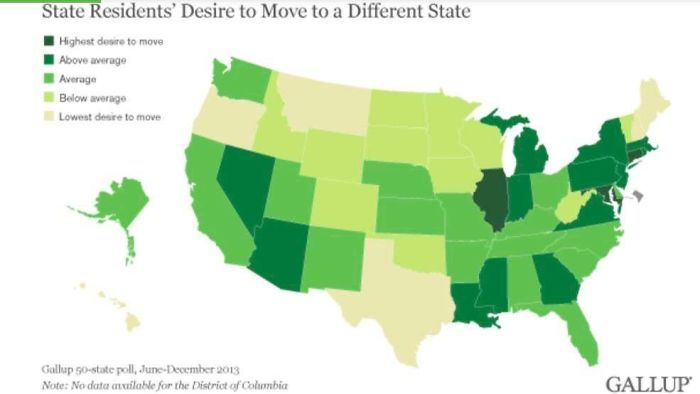 The U.S. Mapped By Residents' Desire To Move To A Different State