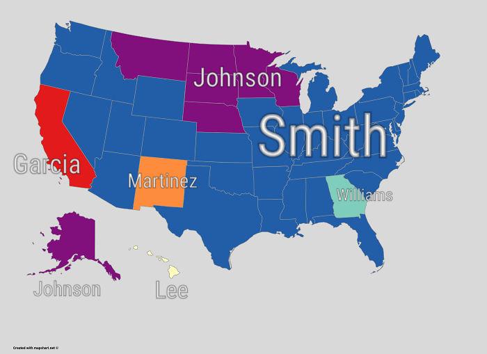 El apellido más común en cada estado