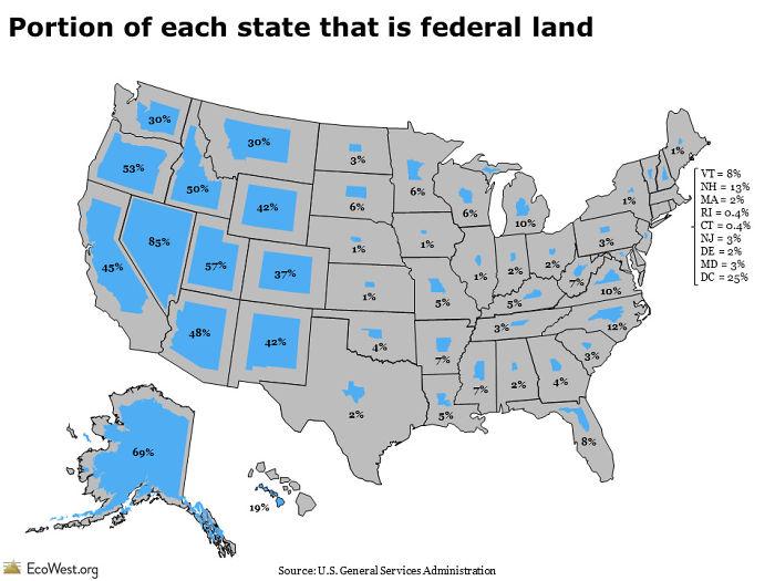 Porción de cada estado que es tierra federal