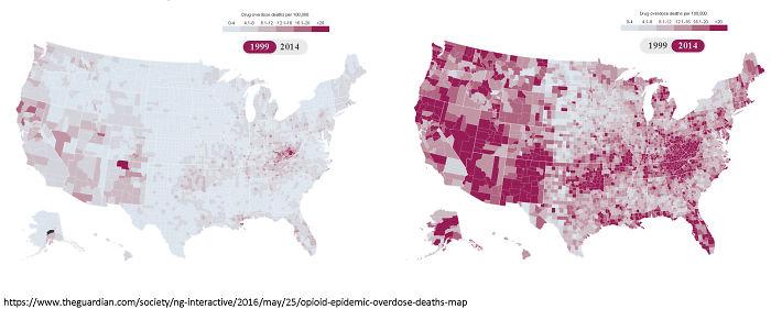 Muertes por sobredosis cada 100000 personas, en 1999 y 2014