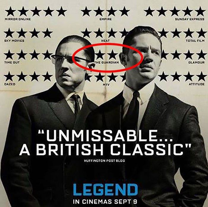 The Poster For The Movie Legend (2015) Mocked One Of Its Negative Reviews By Hiding The Two Star Review Between The Kray Twins Heads