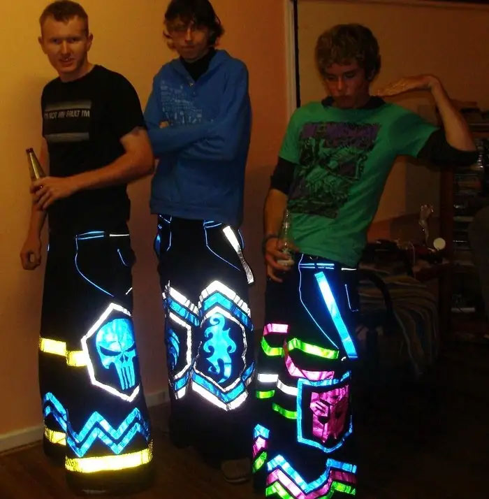 Convince Your Friends That You're A Supercool Raver By Sticking Strips Of Coloured Tin Foil To Your Trousers