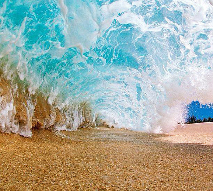 Beach Under Wave. Photo Taken A Moment Before Getting Soaked