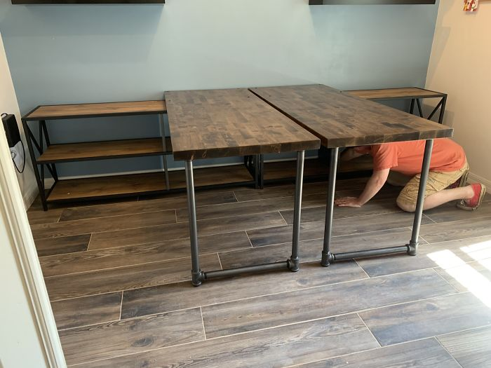 My Hubs And I Built New Desks Since We Couldn't Find Any At The Right Height