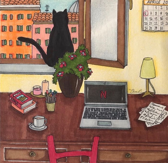 "I Made An Art Project Called ""The Roman Quarantine"" Drawing Daily Life With My Cat During The Lockdown In Rome, Italy"