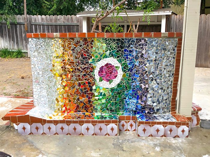 I Used Recycled Glass To Make A Mosaic Wall Memorial