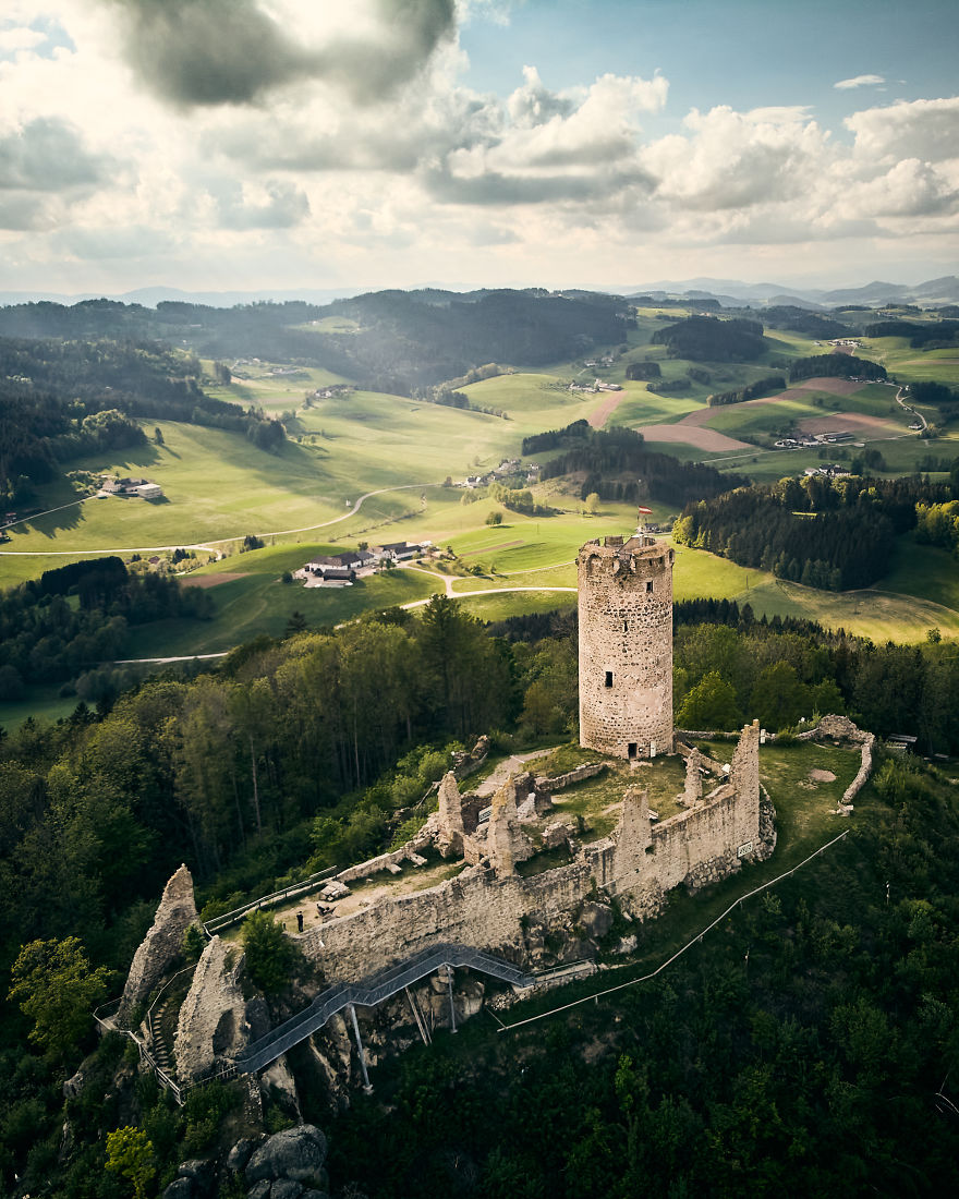 Old Castle Ruins In Upper Austria