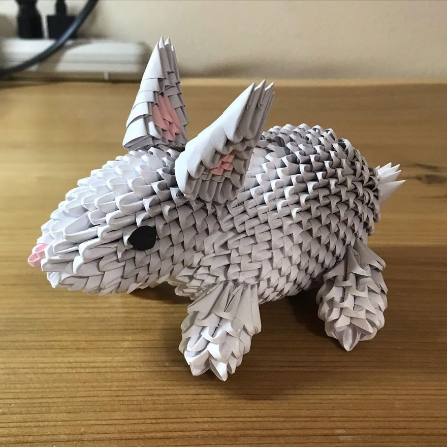 White Origami Rabbit Lamp - Red Candy | 880x880