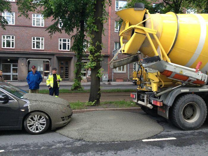 Cement Truck Mishap