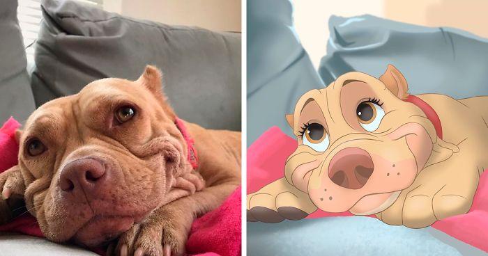 """La gente envía fotos de sus mascotas a esta artista para que las """"disneyfique"""" (30 imágenes)"""