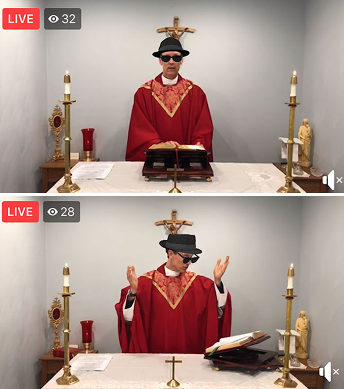 Priest Accidentally Live-Streamed Mass With Sunglasses And Hat Filter