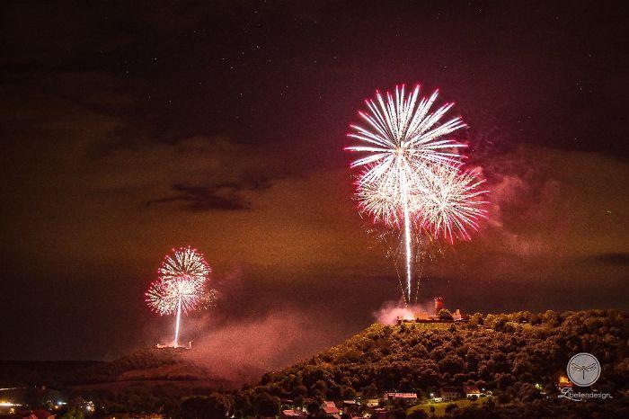 """Firework Shot From Castles In """"Drei Gleichen"""", Germany"""