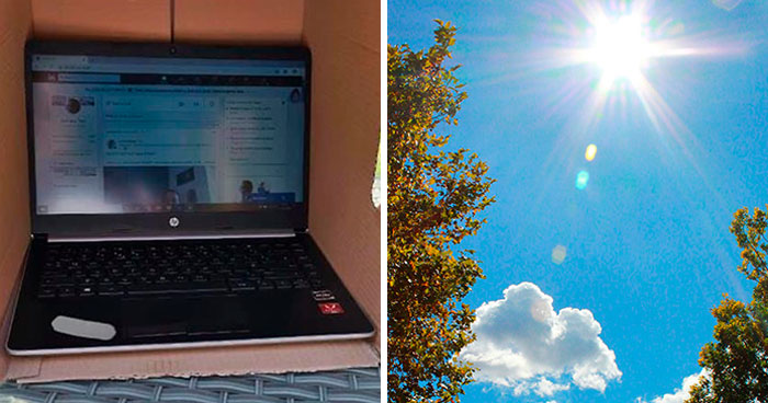 Man Comes Up With A Cheap Idea To Protect Laptops From The Sun And It Actually Works