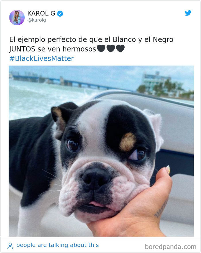 """Karol G Tweeted, """"The Perfect Example That Black And White Together Look Beautiful. #blacklivesmatter'"""""""