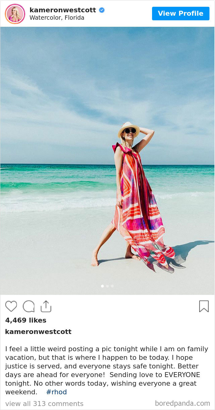 Real Housewife Kameron Westcott Is Under Fire For Posting Vacation Pictures While Discussing The Death Of George Floyd
