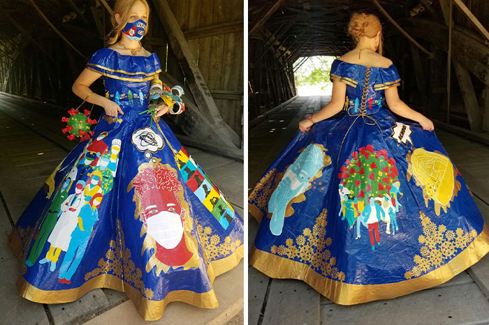 Teen Spent 400 Hours Making A COVID-Themed Prom Dress Using 750 Meters Of Colored Duct Tape For A Duck Brand Scholarship Contest