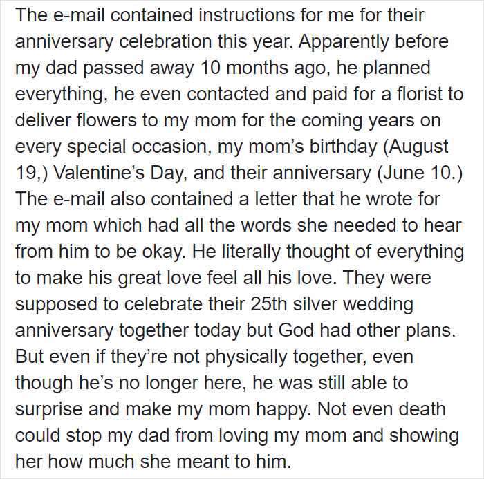 Daughter Receives Email Instructions On How To Throw A 25th Wedding Anniversary Celebration For Mom Written By Dad Who Passed Away 10 Months Ago