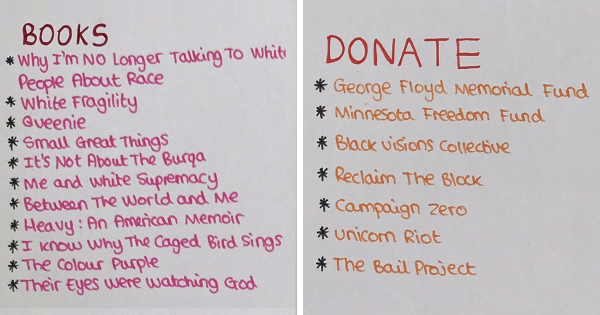 Woman Makes A Poster About What All Of Us Can Do To Support Black Lives Matter, It Goes Viral - bored panda