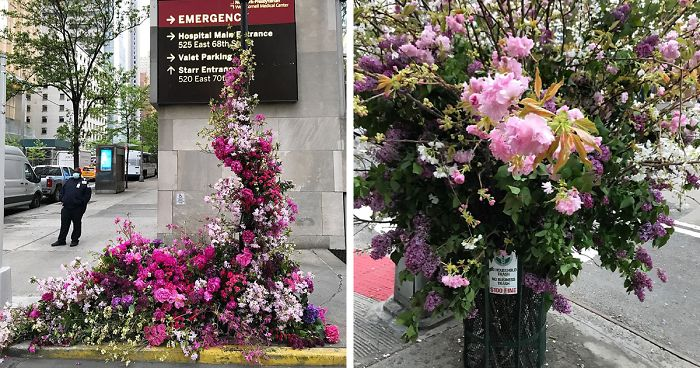 Unexpected Places In NYC Are Blooming With Flowers To Honor Healthcare Workers Thanks To Lewis Miller (11 Pics)