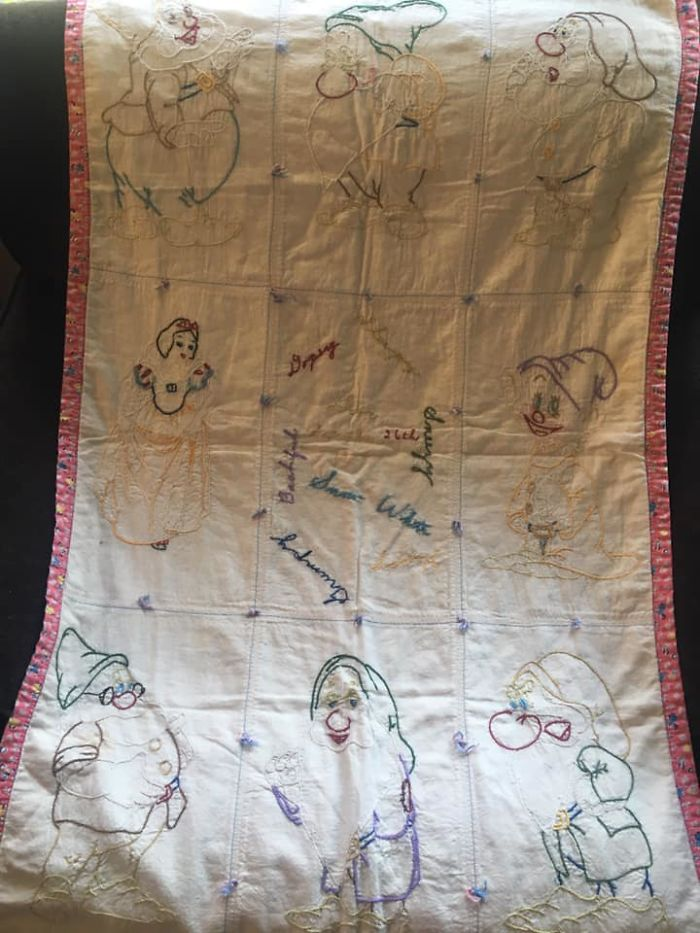 My Mom Was Born 1939, The Year Snow White Was Released. She Passed Away In March And As I Have Been Cleaning Out Her Home, I Found This Beautiful Blanket Made For Her, By Her Grandmother When She Was Born