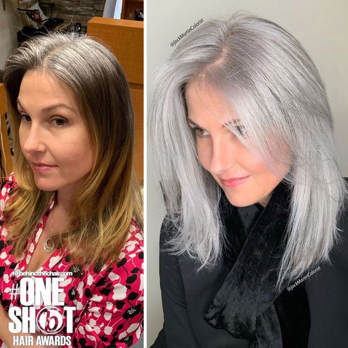 Instead Of Covering Grey Roots, This Hairdresser Makes Clients Embrace It With His Powerful Transformations (35 Pics)