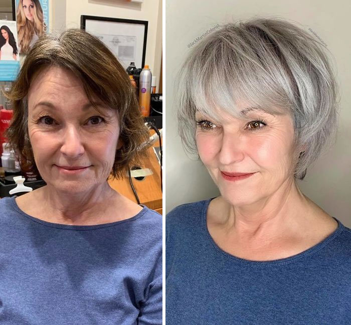 Instead Of Covering Grey Roots, This Hairdresser Makes Clients Embrace It  With His Powerful Transformations (35 Pics) - Success Life Lounge