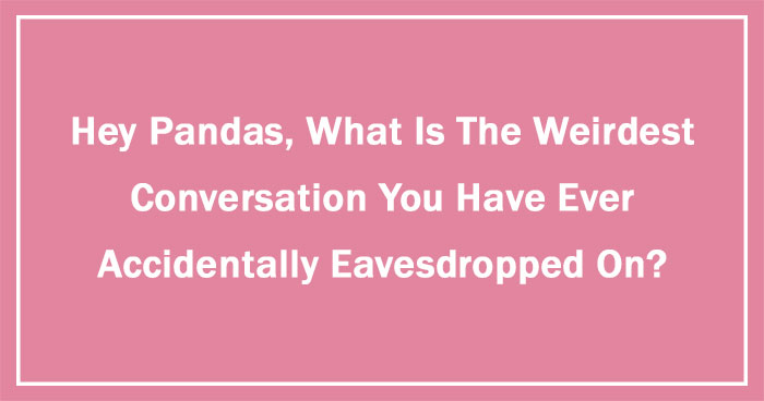 Hey Pandas, What Is The Weirdest Conversation You Have Ever Accidentally Eavesdropped On? (Ended)