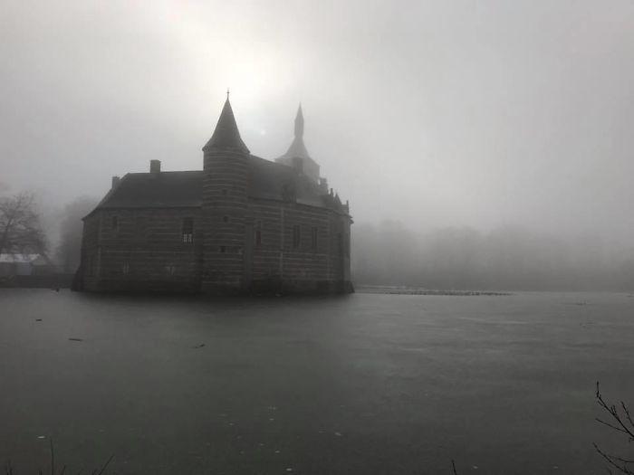 Foggy Morning Walk Near Castle In Belgium. Lucky Shot...