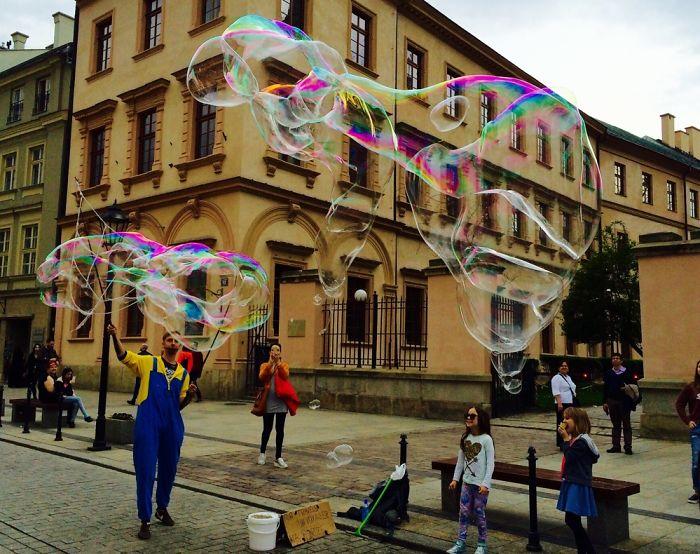 Bubbleman In Krakow Poland