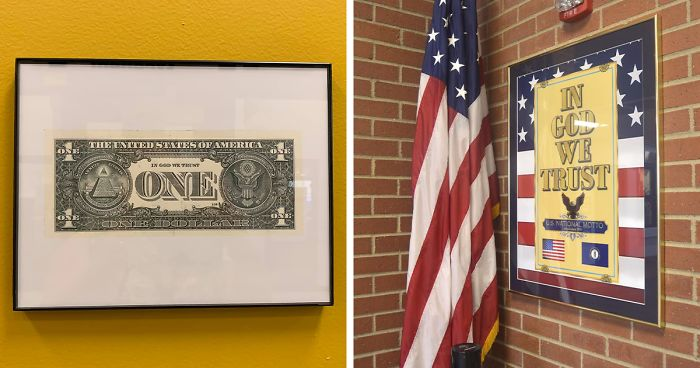"""Kentucky Schools Frame A $1 Bill After The State Passed A Law That All Schools Must Have A """"In God We Trust"""" Sign"""