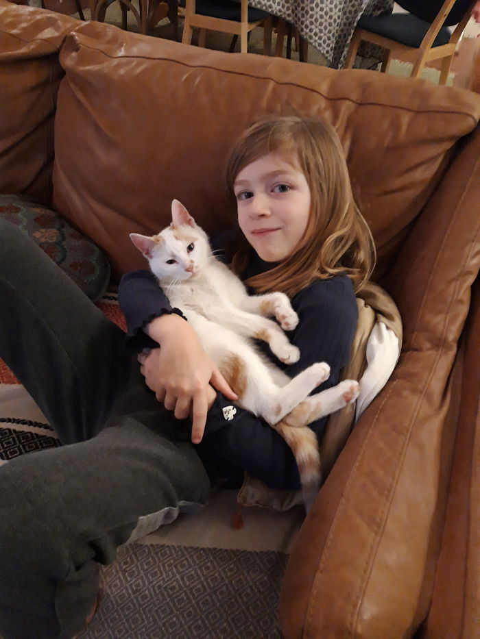 My Daughter And Our Cat Just A Few Days After We Found Him : He Was Left Starving In The Streets.