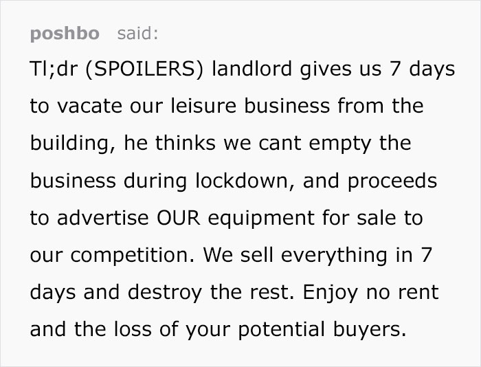 Landlord Hopes To Keep Company's Stuff By Forcing Them To Move Out In 7 Days, Gets Exactly What He Deserves