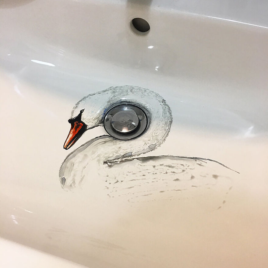 Artist Uses Her Sink As A Canvas And Lets The Water Destroy Her Paintings 24 Hours Later (26 Pics)
