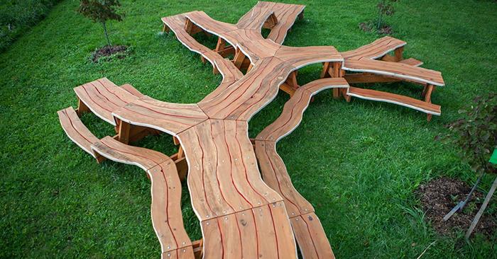 This Mesmerizing Picnic Table Looks Like A Massive Branching Tree