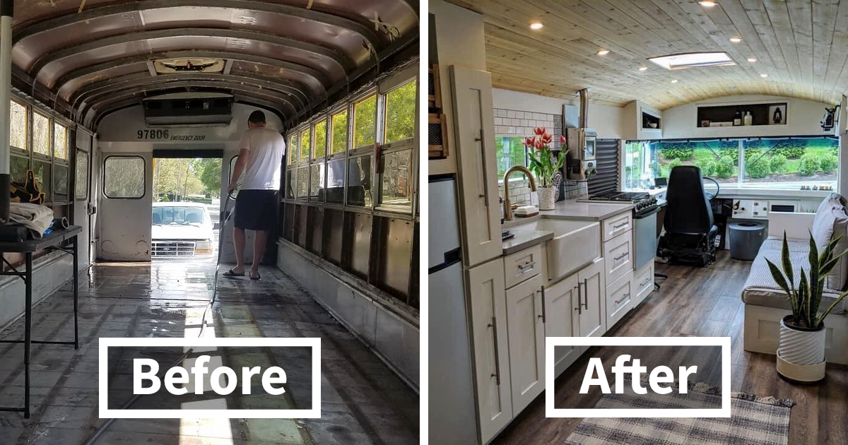 Couple Converts A School Bus Into A Cozy Home On Wheels, And It Looks Nicer Than A Lot Of Apartments