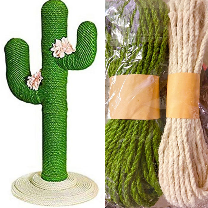 My Wife Gets Wine Drunk And Orders Stuff From Instagram Ads. She Ordered This Cactus Cat Scratcher And Two Months Later She Received Just A Bag Of Rope With No Instructions, Or Wood, Or Packing Slip