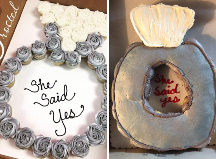 My Sister Ordered Cupcakes For My Engagement Party Yesterday. Sent Walmart Bakery The Pic On The Left. Instead Of A Ring, Apparently I Said Yes To A Silver Toilet Seat