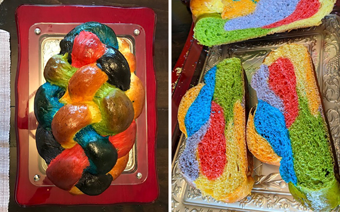People Applaud This Mom Who Baked A Rainbow Challah To Celebrate Pride Month