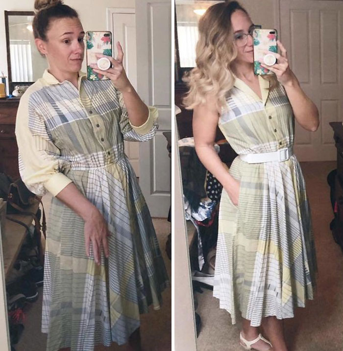 Woman Modifies Old Thrift Store Clothes To Create New Outfits And Here Are 21 Of Her Best Works