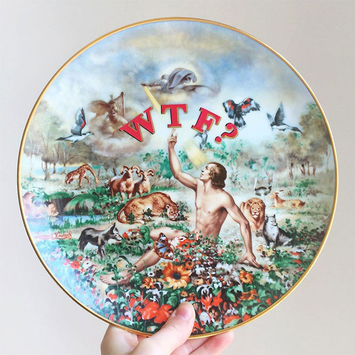Thrifted Vintage Plates Made Irreverent With Typography By Marie-Claude Marquis (62 Pics)