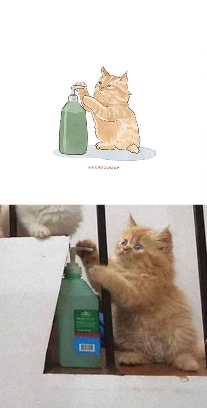 Watercolor-Cat-Paintings-Watercatlor
