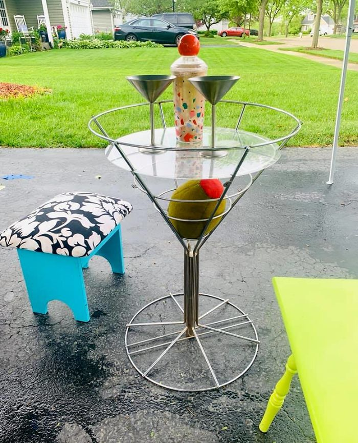 Thank Goodness For Facebook Marketplace That Landed Me The Most Amazing 1950's Vintage Martini Glass Side Table- Complete With A Big Ol' Juicy Stuffed Olive- My Favorite Secondhand Find To Date
