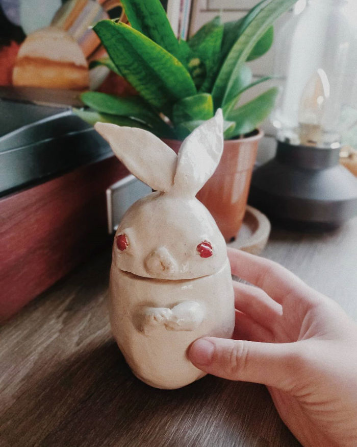 I Made This Ceramic Bunny By Hand-Sculpting Clay! You Can Put Some Treasures Inside It