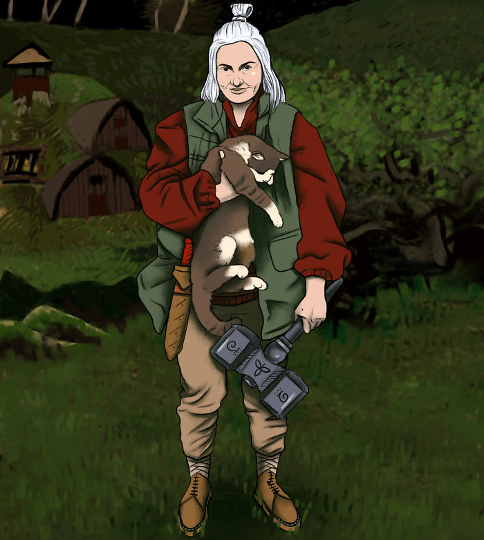 GF's Witcher Rendition With Our Cat