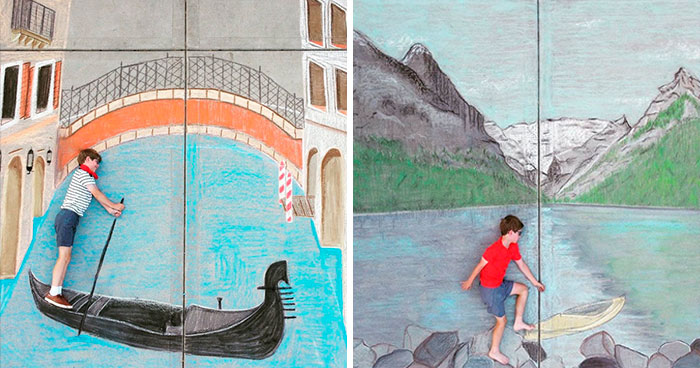 14-Year-Old Spends The Quarantine Creating Chalk Drawings Each Day To Entertain Her Little Brother With 'Travels' From Their Driveway