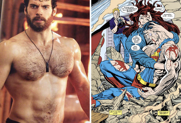 "In Man Of Steel (2013), Henry Cavill (Superman) Was Asked To Shave His Chest For The Collapsing Oil Rig Scene, However He Refused Saying That Superman Had Chest Hair, Citing The Famous ""Death Of Superman"" Graphic Novel As A Reference"