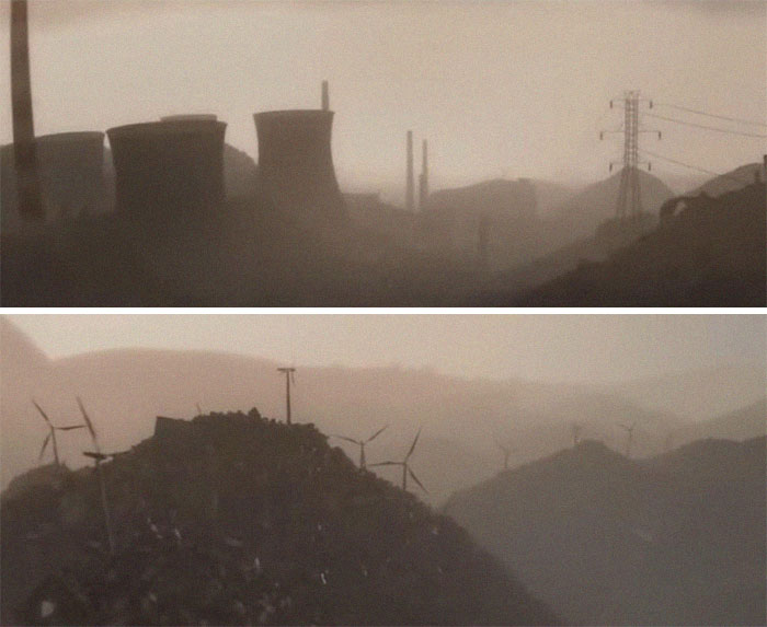 In The Opening Scene Of Wall-E (2008) There Are Wind Turbines And Nuclear Plants Built On Top Of Trash Mounds To Imply That Mankind Didn't Convert To Clean Energy Until It Was Too Late